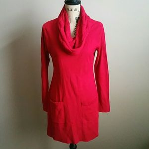 Dresses & Skirts - NY&CO Red CABLE-KNIT COWL-NECK SWEATER DRESS